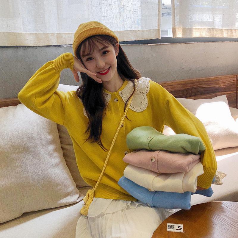 实拍 学院风韩版毛针织衫女娃娃领长袖开衫外套ins打底衫