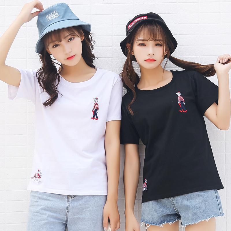 实拍夏季新款韩版可爱刺绣小人短袖T恤女宽松上衣学生闺蜜装