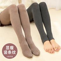 打底裤女外穿春秋季薄款竖条螺纹踩脚裤修身显瘦大码弹力连体裤袜
