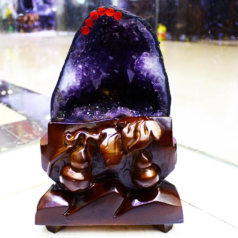 天然紫晶洞摆件消磁净化奇石水晶洞招财聚宝盆原石玄关风水镇宅