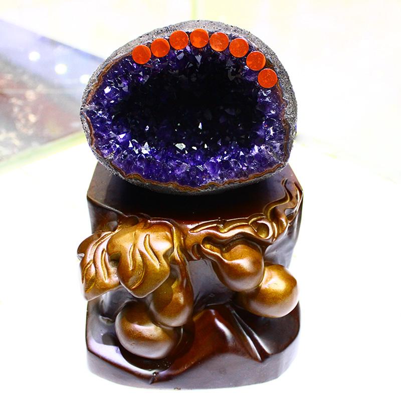 天然原石原矿乌拉圭精品钱袋子聚宝盆紫晶洞摆件