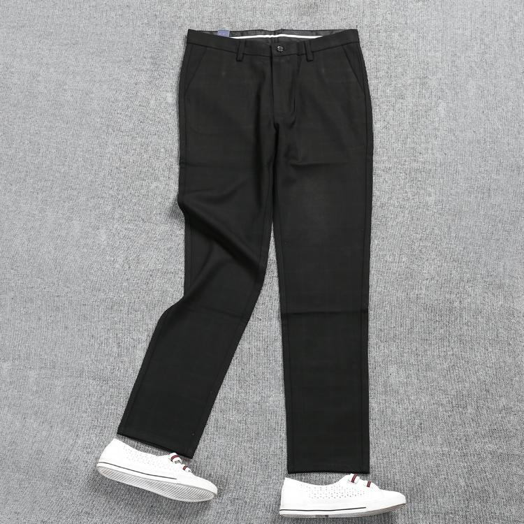 7.77 男装长裤男裤 秋冬休闲裤男士加大码商务修身黑色裤子D5