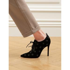 熙漫2020秋冬新款尖头深口单鞋羊反绒细跟及踝靴女时尚水钻高跟鞋