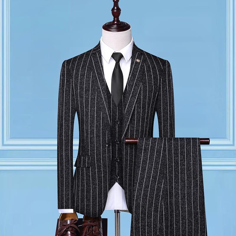 春季新款西服套装男士韩版修身条纹西装三件套宴会商务礼服正装男