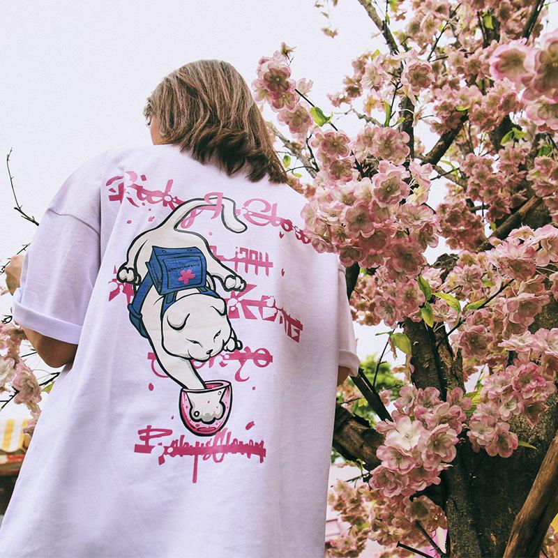 rickyisclown 猫爪杯短袖t恤男潮牌个性时尚宽松上衣超火港风百搭11月25日最新优惠