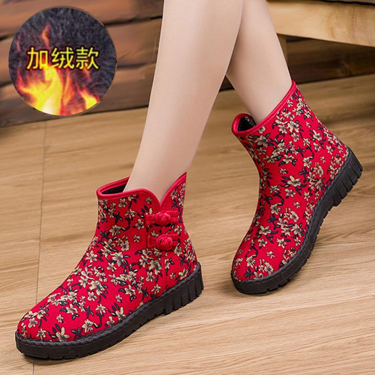 冬季新款老北京防滑雪地靴加绒保暖妈妈棉鞋平底中老年软底女靴子