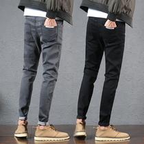 南極人彈力秋冬款加絨牛仔褲男士秋新款修身韓版休閑寬松直筒褲子