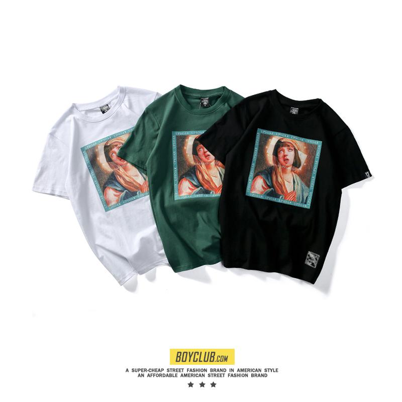 2019SadBoy嘻哈短袖恶搞贴图祈祷印花个性潮流欧美街头男女短t恤