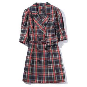 迦尔伽2019秋季双排扣格纹翻领系带中袖收腰西装连衣裙女1930096