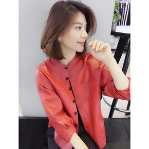 复古红色短款夹克百搭薄款皮衣外套欧洲站春季女装2021新款欧货潮