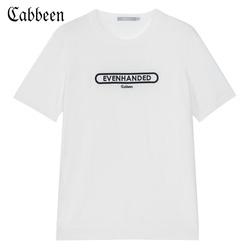 商场同款卡宾男装字母刺绣宽松圆领短袖青年圆领线衫潮牌春H