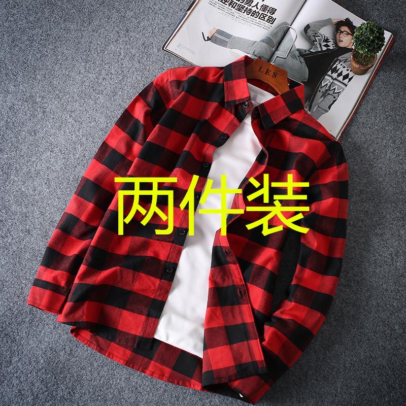 韩版格子衬衫外穿上衣男士长袖休闲宽松百搭夏季薄款衬衣外套潮流