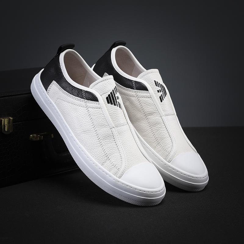 米兰阿玛尼鞋乐福网红鞋真皮新款小白鞋休闲透气舒适板鞋学生男鞋图片