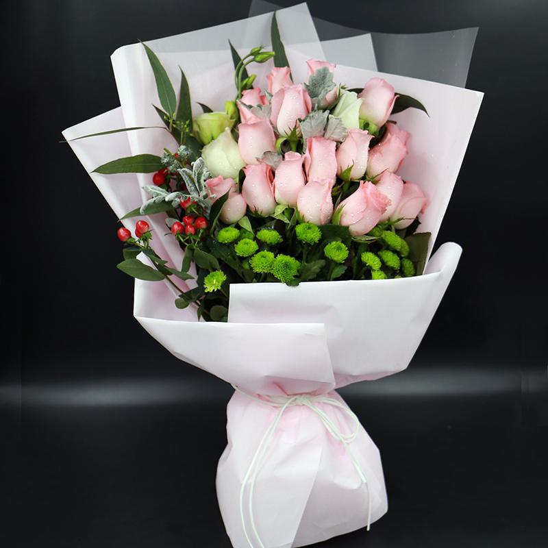 热卖!19朵粉色玫瑰花束绿雏菊同城鲜花速递南京闺蜜实体花店配送