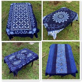 云南民族风手工扎染茶几桌布壁挂沙发巾钢琴罩大理蓝染特产礼品