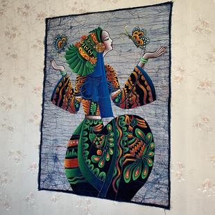云南手绘民族风蜡染油画壁挂居家咖啡屋餐厅扎染艺术背景特产礼物
