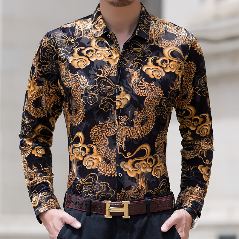2018 new mens long sleeve shirt mens business leisure velvet middle aged Chinese dragon pattern shirt fashion
