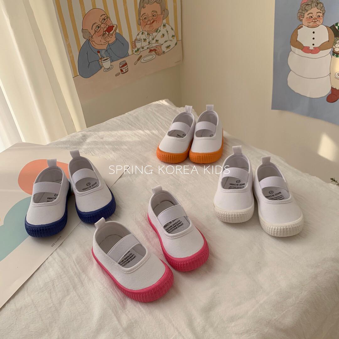 Spring韩国童鞋宝宝一脚蹬鞋彩色大底防滑透气男童女童帆布鞋夏季