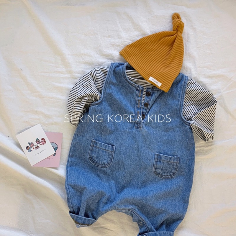 Spring韩国童装男女宝宝春季套装牛仔背带连体裤条纹T恤洋气套装
