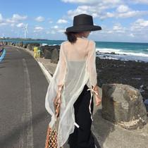雪纺披肩夏季配吊带裙子的小外套薄夏天防晒衣仙女中长款外搭开衫