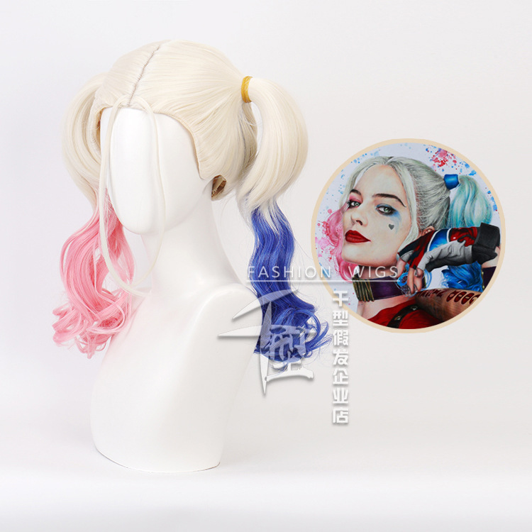 Role play suicide team double ponytail clown Harley Quinn Cosplay wig package