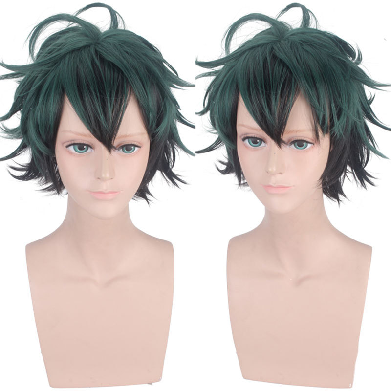 My hero College Green Valley out of the long cos Wig Black Green role play gradient animation hair package