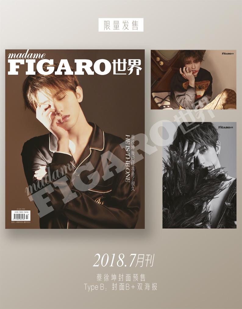 现货B封面 MadameFigaro蔡徐坤限量珍藏版2张海报+特制筒盒+杂志