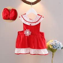 女童围裙公主纯棉防水宝宝围兜罩衣女孩无袖吃饭小孩画画反穿衣