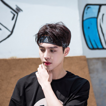 Korean hip-hop male street boomers hair with facial face Sports personality hundred ins headscarf wide edge European and American headwear