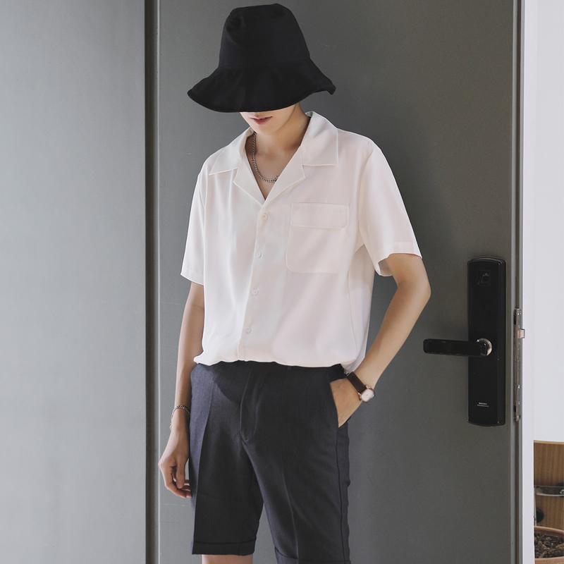 夏季休闲宽松帅气潮流短袖衬衫男士满128.00元可用49元优惠券
