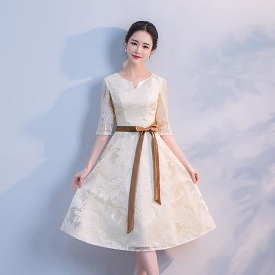 小礼服女2019夏秋新款浅香槟生日礼服舞台宴会晚礼服伴娘服中长款