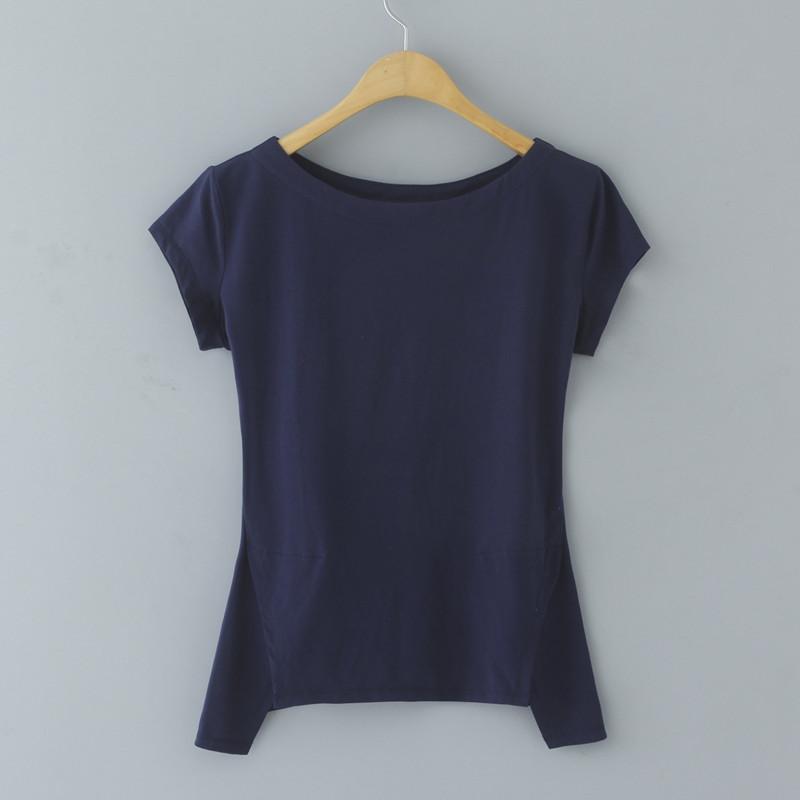 2019新款夏装纯色一字领上衣短袖女t恤修身纯棉不规则半袖体桖潮热销39件需要用券
