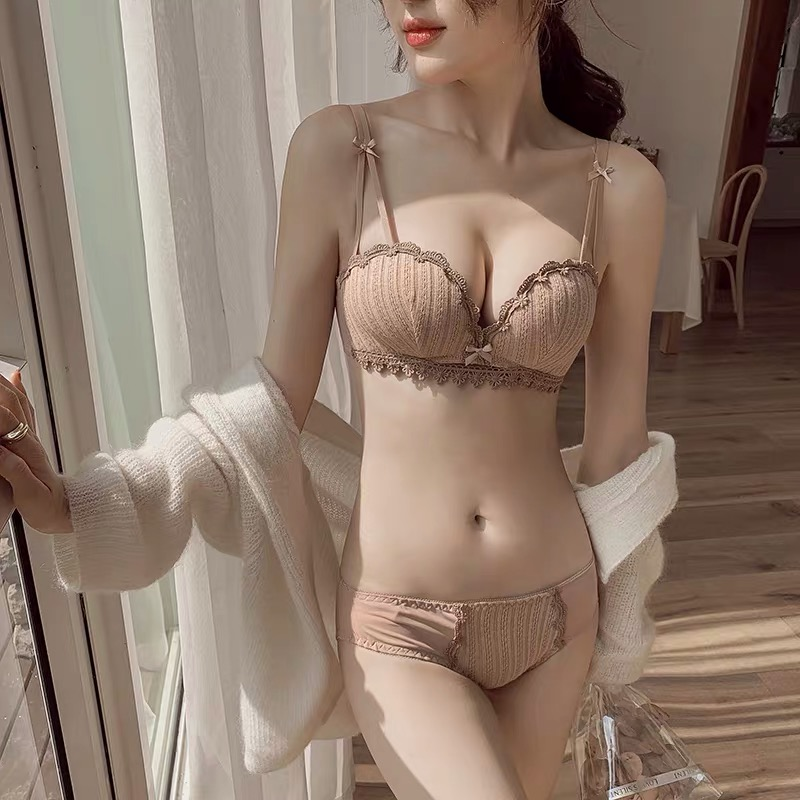 Lingerie Set women confused plump fun lingerie women seduced non steel ring underwear thin small chest gathered bra set