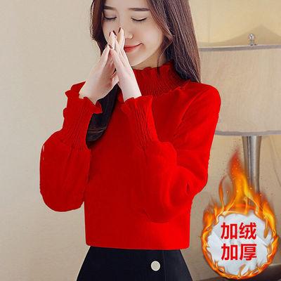 衬衫女春秋装新款韩版宽松百搭半高领加绒上衣打底小衫时尚T体恤