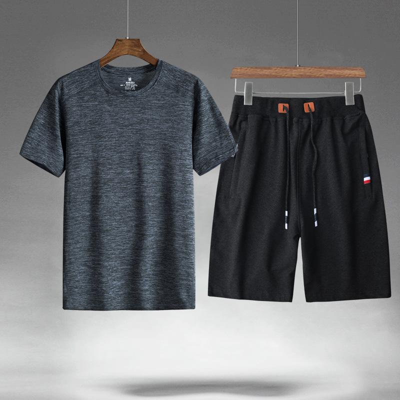 夏天纯棉短裤男中年父亲宽松运动休闲针织五分裤套装爸爸一身夏装