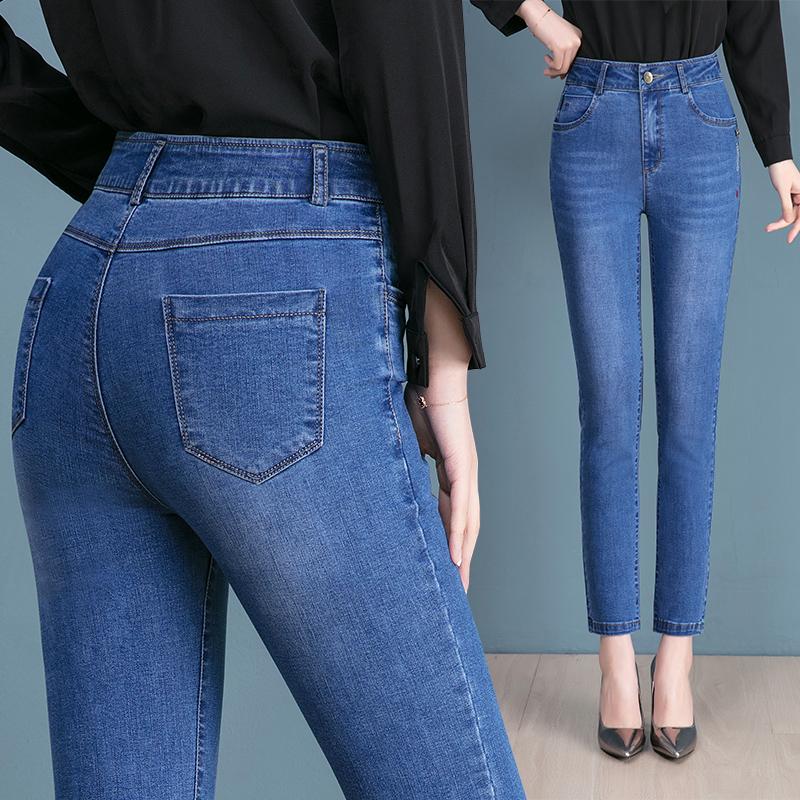 春秋薄款牛仔裤女中年高腰直筒2020新款妈妈裤子弹力显瘦宽松大码