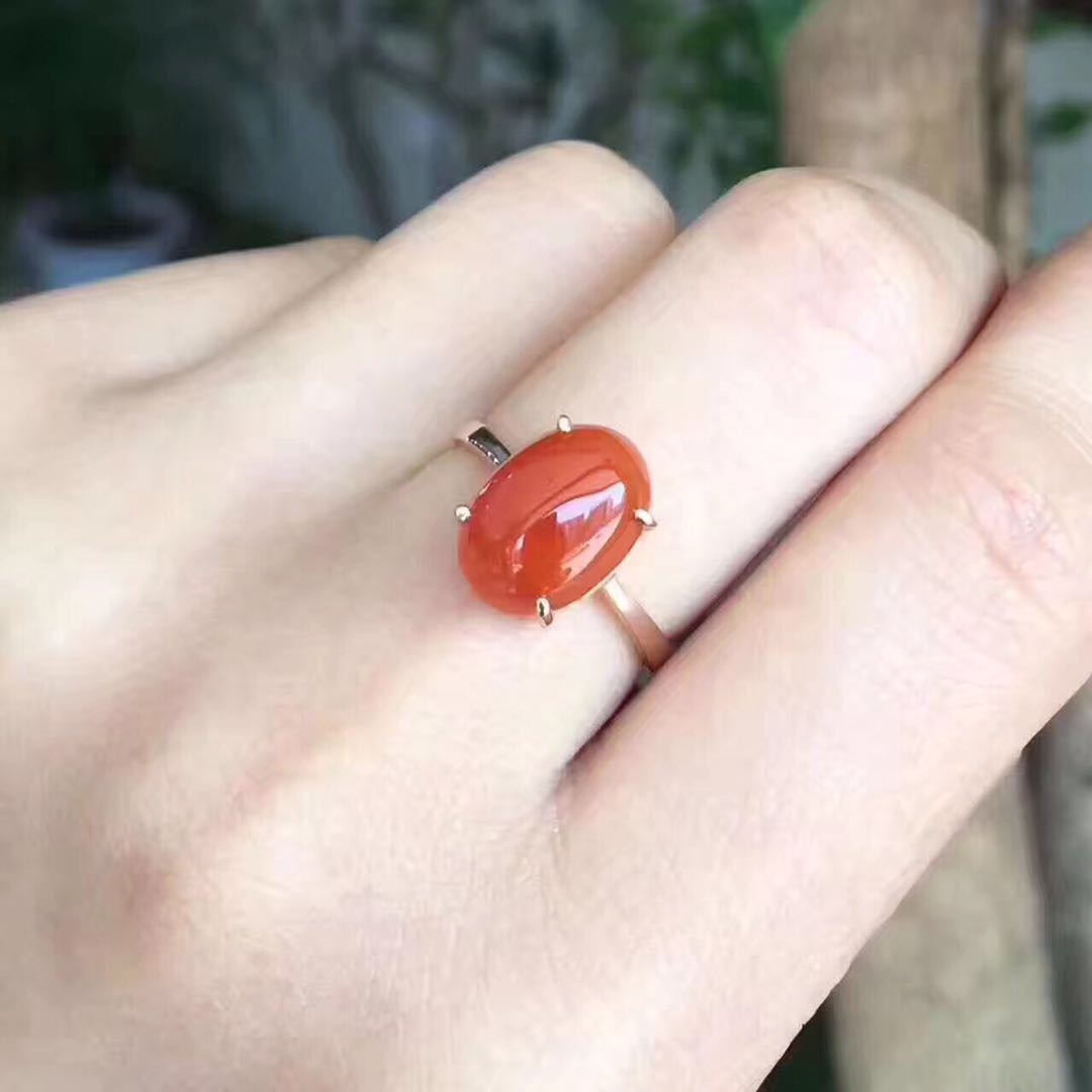 Pure natural southern red ring! Select gem Size 9 by 11, simple and versatile