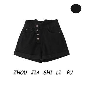 设计感黑色斜四粒扣高腰卷边热裤夏季新款无弹阔腿牛仔短裤女