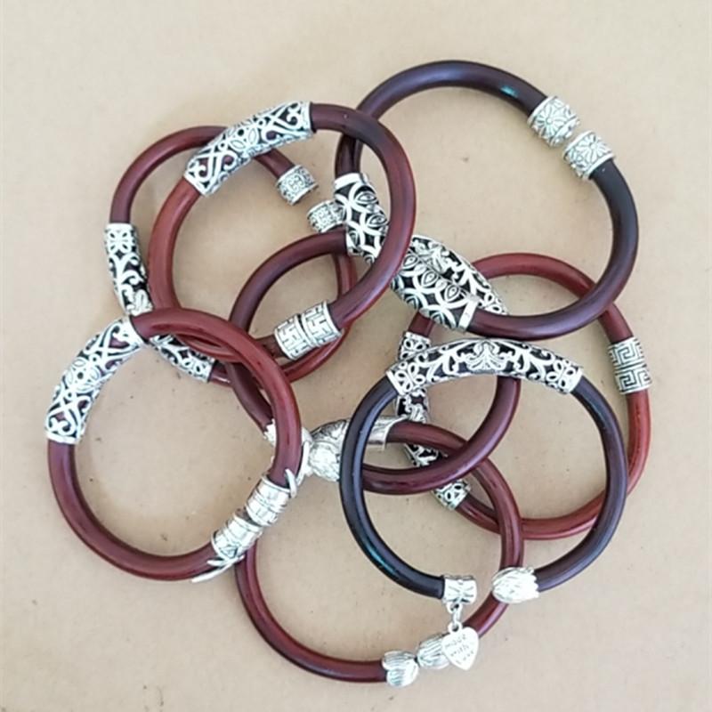 [double silver ornament] Tibetan non Festival double silver ornament Caulis Spatholobi wild Festival original rattan Bracelet couple Bracelet