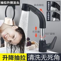 面盆水龍頭黑色歐式仿古冷熱不銹鋼洗手洗臉盆臺上臺下盆龍頭加高