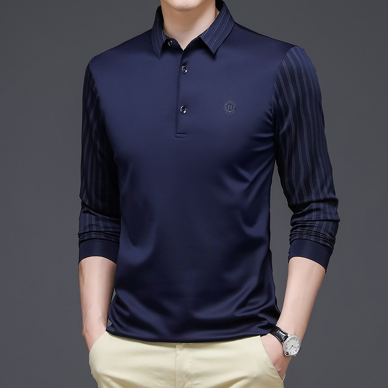 93133/P40休闲服装长袖t恤汗衫秋季商务POLO衫男中年爸爸上装