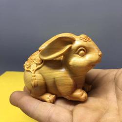 崖柏木雕小兔子手把件实木文玩雕刻工艺品生肖兔萌宠兔子饰品摆件