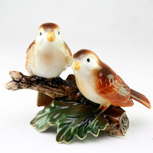 生日结婚婚庆情侣送女友纪念礼物 陶瓷工艺品对鸟 相思鸟摆件