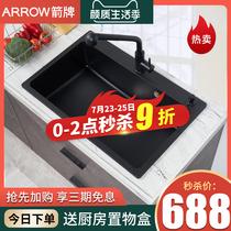 不銹鋼水槽套餐304廚房家用水盆洗手洗碗水池箭牌洗菜盆手工單槽