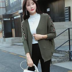 2017秋季新款韩版女装纯色针织衫开衫小外套女宽松时尚