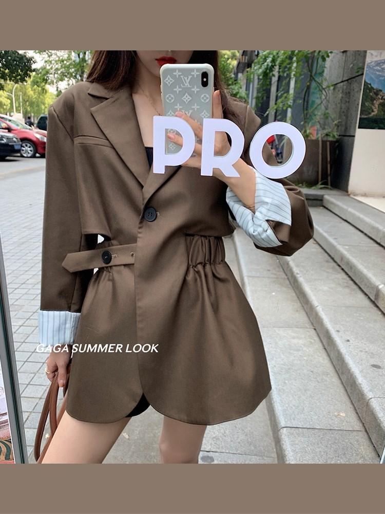气质涤纶纯色通勤露腰裙女设计感小众韩版炸街西服秋装2021年新款