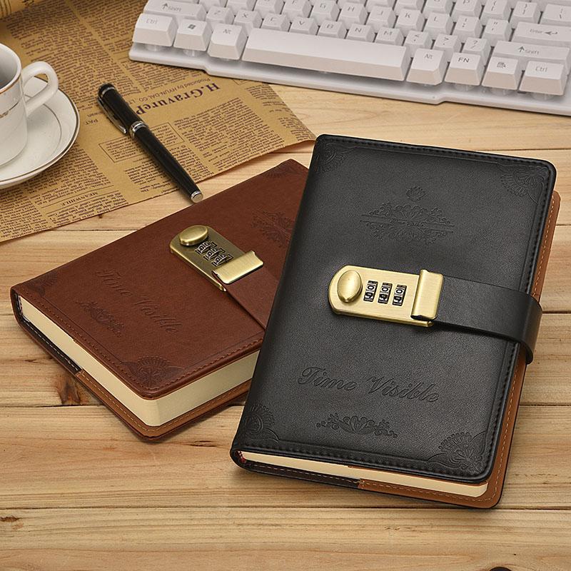 硬小学生超厚密码文艺星座手感带扣男孩笔记本精装复古皮面日记本