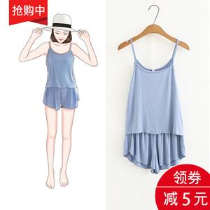 韩版夏季性感吊带短裤睡衣女薄款两件套大码莫代尔春秋家居服套装