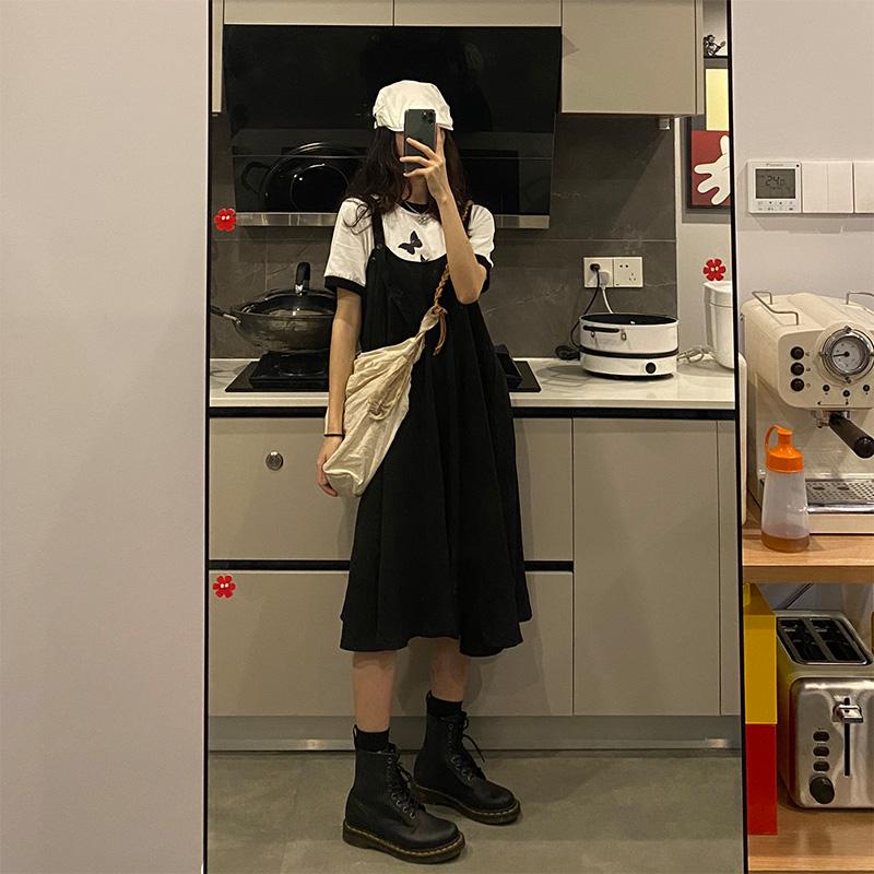 Seven4lee 小红 日系吊带连衣裙女小心机显瘦黑色背带裙