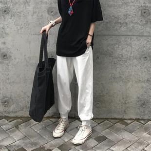 Seven4lee小红 奶白色运动裤女夏季薄款哈伦裤宽松束脚休闲裤卫裤
